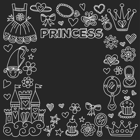 beauty pageant: Princess Doodle icons For baby shower, toy shop Illustration