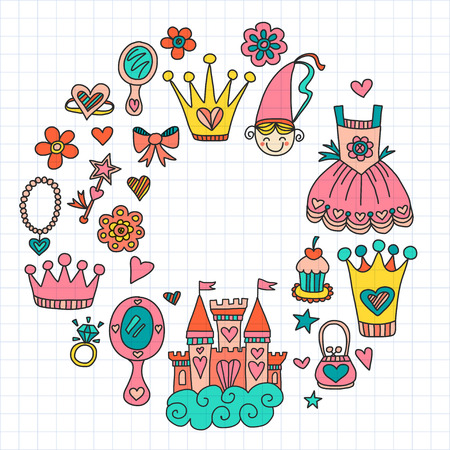 My little princess Hand drawn doodle elements
