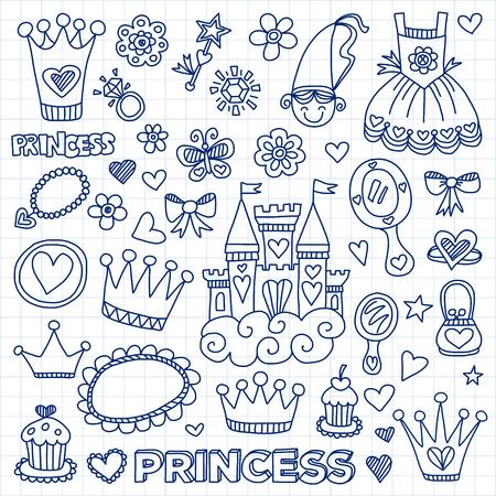 Ma petite princesse dessinés à la main des éléments de griffonnage Vecteurs