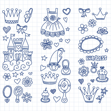 beauty pageant: My little princess Hand drawn doodle elements