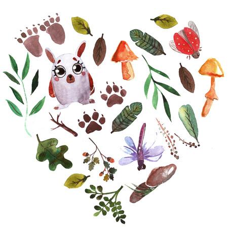 Watercolor forest friends For baby shower, kindergarten, school, education, t-shirt