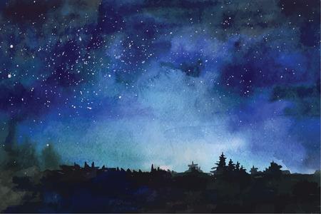 宇宙、星、星座、星雲の水彩のベクトルの背景  イラスト・ベクター素材