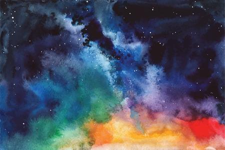 수채화 벡터 배경 공간, 별, 별자리, 성운