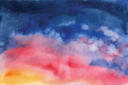 glittery: Watercolor vector background Space, stars, constellation, nebula