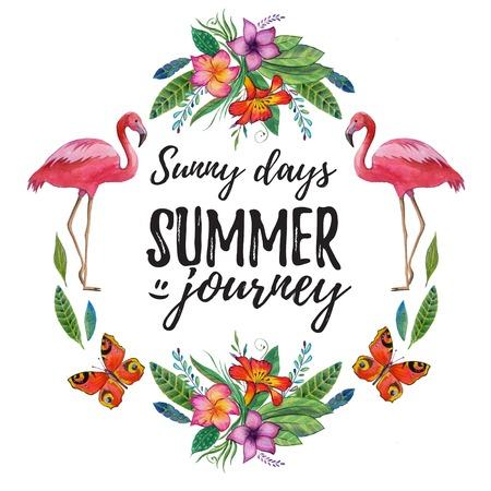 バナー、ポスター、熱帯の鳥と販売水彩夏フレーム花熱帯島の熱帯の夏の楽園