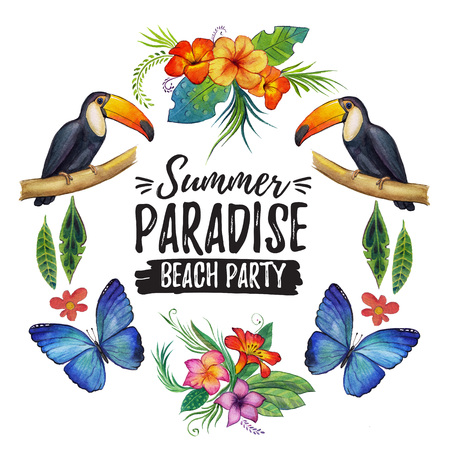 Watercolor summer frame for banner, poster, sale With tropical birds, flowers Tropical island Tropical summer paradise