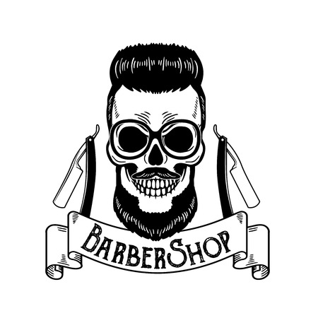 Barbershop emblem, barbershop   or badge for barber shop signboard, posters Skull with blades and hipster beard and haircut