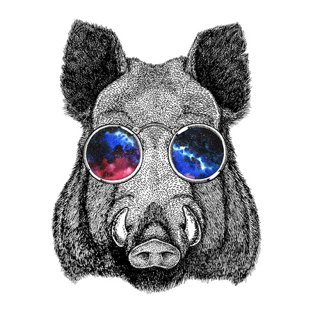 Cool boar picture for beer branding, food branding, posters Fashionable Image for tattoo, logo, emblem, badge design