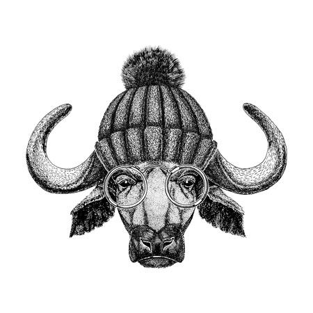 Image of bison, bull, buffalo for tattoo, logo, emblem, badge design Stok Fotoğraf