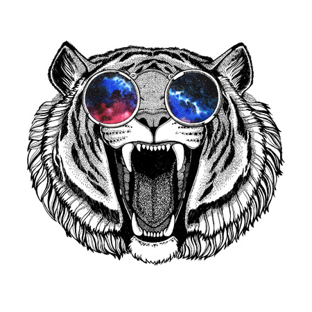 Angry tiger wearing hippie glasses Hipster animal Image for tattoo, logo, emblem, badge design Stock Photo