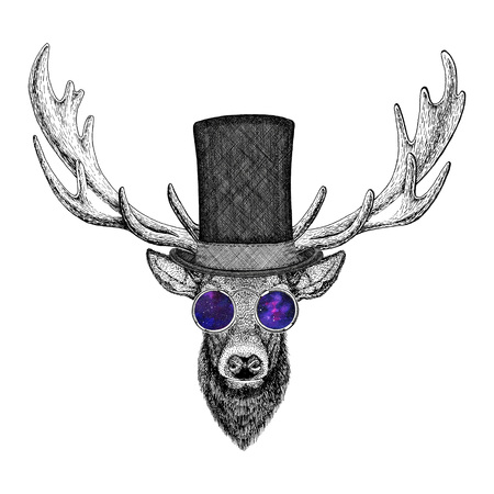 chimney pot: Cool fashionable deer Hipster animal Vintage style illustration for tattoo, logo, emblem, badge design