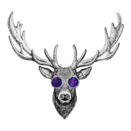Cool fashionable deer Hipster animal Vintage style illustration for tattoo, logo, emblem, badge design