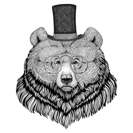 stove pipe: Grizzly bear Hipster style animal Image for tattoo, logo, emblem, badge design