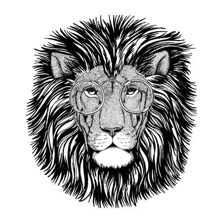 Wild hipster lion Image for tattoo, logo, emblem, badge design Stock fotó