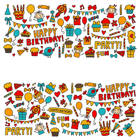 Vector kids party Children birthday icons in doodle style Illustration with children, candy, balloon, boys, girls Ilustracja