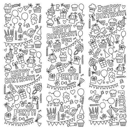 Vector Kids Party Malvorlage Kinder Geburtstag Icons in Doodle-Stil Illustration mit Kindern, Süßigkeiten, Ballon, Jungen, Mädchen Standard-Bild - 74800310