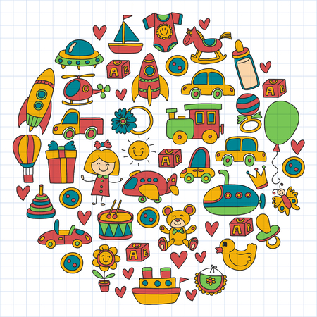 rubber ducks: Illustration of a concept of circle of colorful Vector doodle set with toys for shop, store, kindergarten, nursery Hand drawn vector illustration