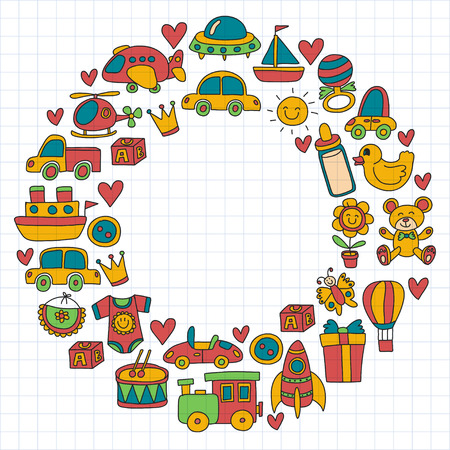 Illustration of a concept of circle a colorful doodle set with toys for shop, store, kindergarten, nursery Hand drawn vector illustration Illustration