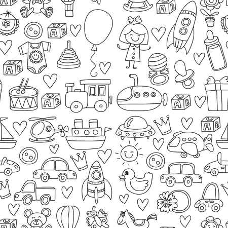 Illustration of a concept of a square doodle set with toys for shop, store, kindergarten, nursery Hand drawn vector illustration