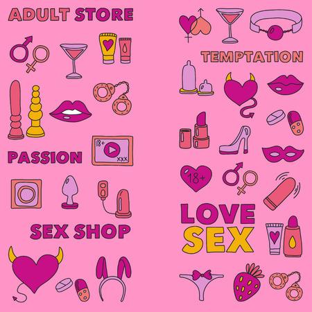 Motif avec jouets pour adultes Sex shop, magasin pour adulte, magasin pour adulte Banque d'images - 74810366