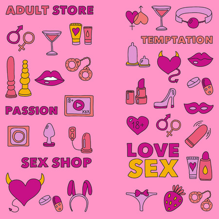Pattern with toys for adults Sex shop, adult shop, adult store Çizim