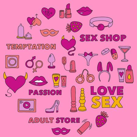 Muster mit Spielzeug für Erwachsene Sex Shop, Erwachsenenladen, Erwachsenenladen Standard-Bild - 74810429