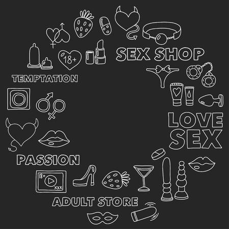 성인용 장난감이있는 패턴 섹스 샵, 성인 샵, 성인 샵 스톡 콘텐츠 - 74810457
