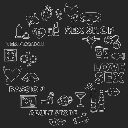 Pattern with toys for adults Sex shop, adult shop, adult store Ilustrace