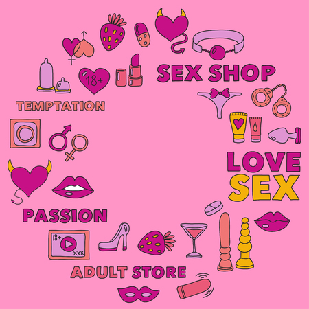 Pattern with toys for adults Sex shop, adult shop, adult store Stock Illustratie