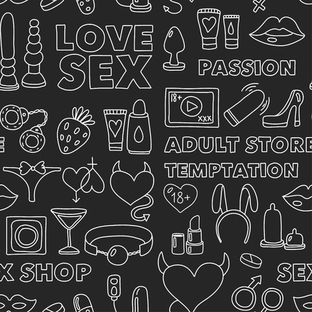 Seamless pattern Sex shop Adult toys Adult store Love Temptation Passion