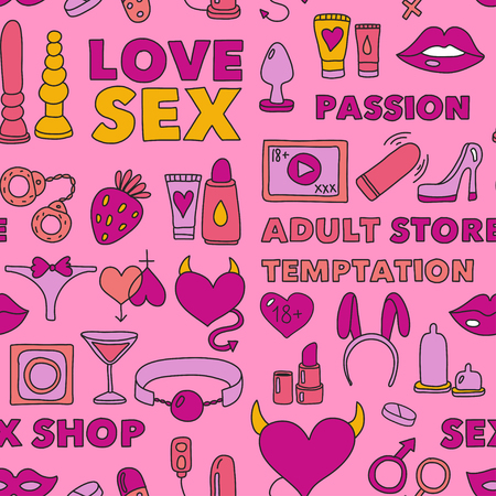 Seamless pattern Sex shop Adult toys Adult store Love Temptation Passion Stock Vector - 74897142