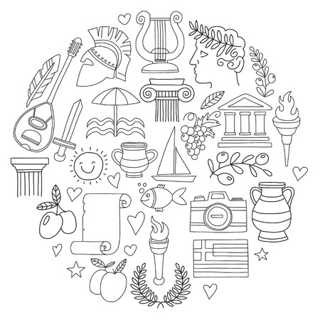 Ancient Greece Vector elements in doodle style for coloring pages Travel, history, music, food, wine