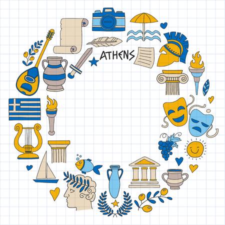 Antike Griechenland Vektor-Elemente im Doodle-Stil Reisen, Geschichte, Musik, Essen, Wein
