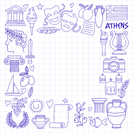 Ancient Greece Vector elements in doodle style Travel, history, music, food, wine