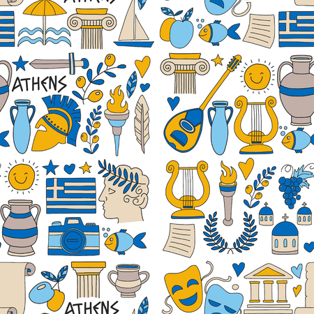 Seamless Pattern Greece travel Doodle icons, elements Sea, sculpture