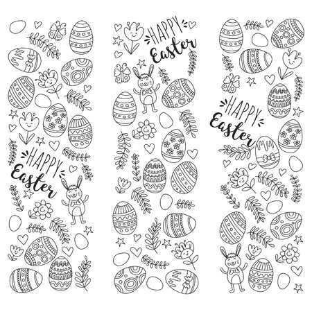 Vector pattern for Easter Eggs, flowers, bunny Happy easter pattern Coloring page Stock Vector - 75006290