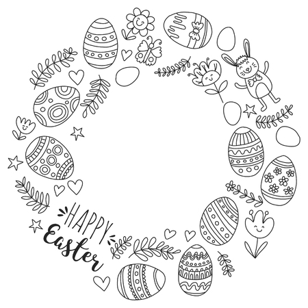 Vector pattern for Easter Eggs, flowers, bunny Happy easter pattern Coloring page Stock Vector - 75006328