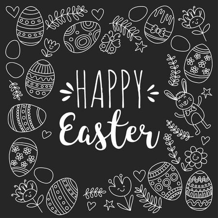 Vector pattern for Easter Eggs, flowers, bunny Happy easter pattern