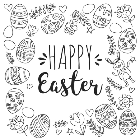 Vector pattern for Easter Eggs, flowers, bunny Happy easter pattern Coloring page Stock Vector - 75006378