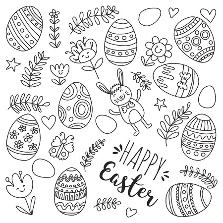 Vector pattern for Easter Eggs, flowers, bunny Happy easter pattern Coloring page Stock Vector - 75006385