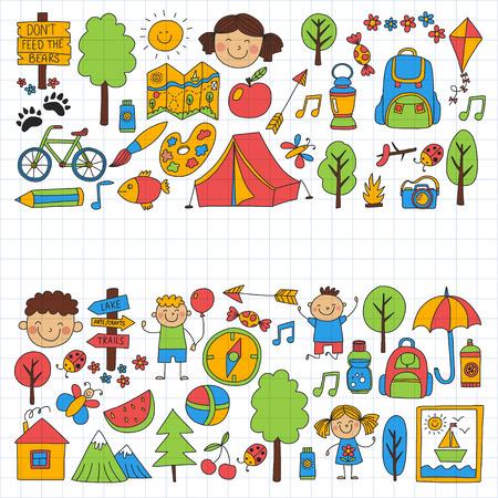 compas de dibujo: Campamento de verano Niños, niños camping Niños juegan, senderismo, canto, pesca, paseos, dibujo, divertirse Después de la escuela advetures de verano