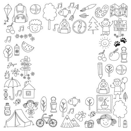 compas de dibujo: Campamento de verano Niños, niños acampar Juegos de niños, senderismo, cantar, pescar, caminar, y mucho más. Vectores