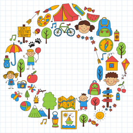 Summer camp Children, kids camping Children plays, hiking, singing, fishing, walking, drawing, having fun After school summer advetures