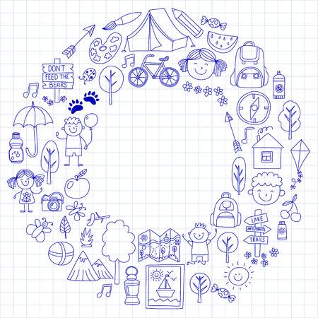 compas de dibujo: Summer camp Children, kids camping Children plays, hiking, singing, fishing, walking, drawing, having fun After school summer advetures