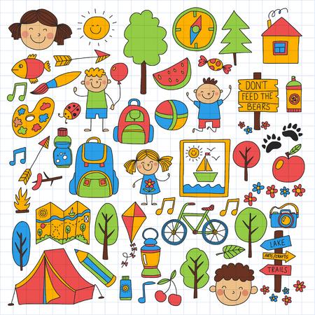 compas de dibujo: Campamento de verano Niños, niños camping Juegos de niños Vectores