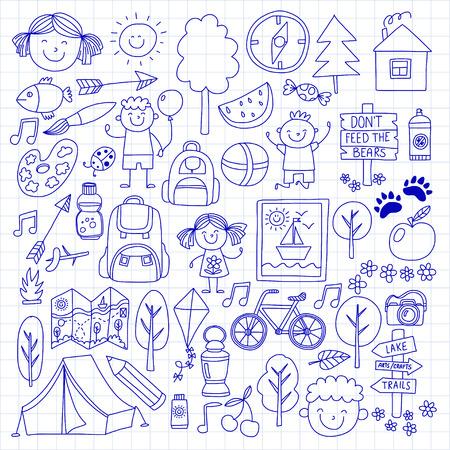 compas: Summer camp Children, kids camping Children plays, hiking, singing, fishing, walking, drawing, having fun After school summer advetures