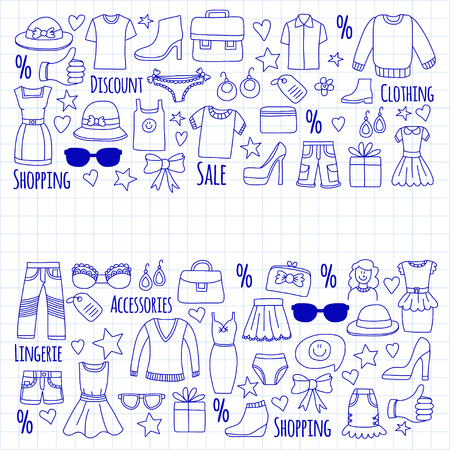 creditcard: Sale Shopping Market Internet shop Discount Vector set of doodle icons for sale Illustration