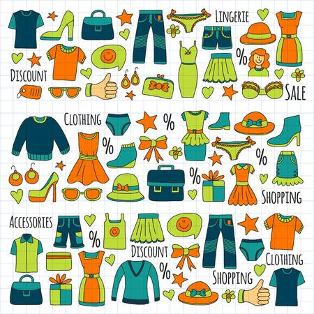 Verkoop Shopping Market Internet winkel Korting Vector set doodle pictogrammen te koop