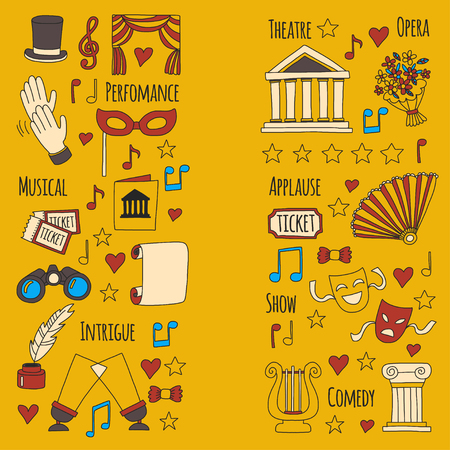 Hand drawn doodle Theatre set Vector illustration Sketchy theater icons Ticket Masks Lyra Flowers Curtain stage Musical notes Pointe shoes Make-up artist tools Theatre acting performance elements Illustration