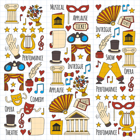 lyra: Hand drawn doodle Theatre set Vector illustration Sketchy theater icons Ticket Masks Lyra Flowers Curtain stage Musical notes Pointe shoes Make-up artist tools Theatre acting performance elements Illustration